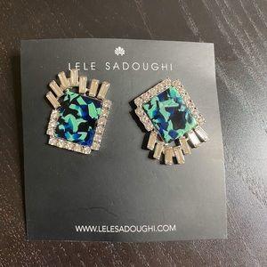 NWT Lele Sadoughi Crystal earrings in green